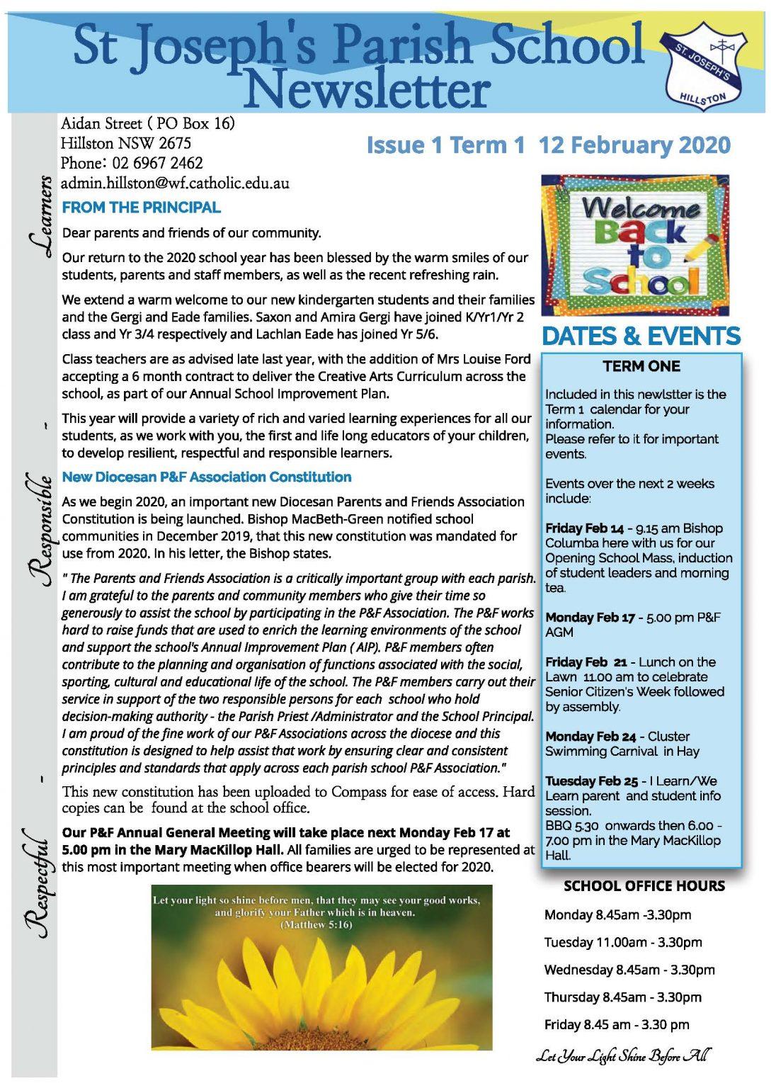 St Joseph's Newsletter Issue 1 Term 1 12 February 2020